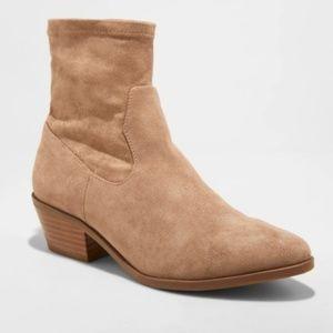 Loraine Microsuede Western Sock Booties Tan 3145i